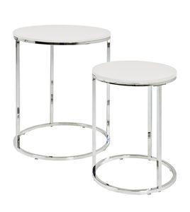 Haku 2-Satz-Tisch, chrom-weiß - Maße: 40/50 cm - Ø 30/40 cm; 33384
