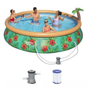 BESTWAY 57416 Fast Set Pool Paradise Palms Swimmingpool Rund Filterpumpe 457x84