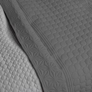 Tagesdecke Bett & Sofaüberwurf gesteppt und wattiert Bettüberwurf Bettdecken Überdecken Hellgrau/Dunkelgrau 170cm x 220cm