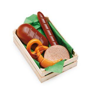 Erzi Sortiment in der Holzsteige n, Spielzeug-Lebensmittel, Kaufladenzubehör