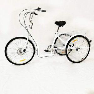 26 Zoll  Dreirad      für  Erwachsene fahrrad Erwachsenedreirad    3 Räder  Cruiser + Korb 6 Gang Zum Einkaufen Weiß   Einzigartiges Geschenk für Picknick im Freien Sicherheit