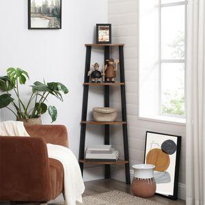 VASAGLE Eckregal, Bücherregal, Leiterregal mit 4 Ablagen,Wohnzimmer, Schlafzimmer, Balkon, Industrie-Design, greige-schwarz LLS34X