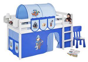 Lilokids Spielbett JELLE 90 x 190 Pirat Blau - weiß - mit Vorhang und Lattenrost, Maße: 198 cm x 113 cm x 98 cm; T-JELLE2054KW-PIRAT-BLAU-S-190