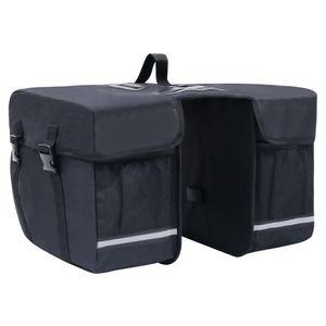 vidaXL Doppel-Fahrradtasche für Gepäckträger Wasserdicht 35 L Schwarz