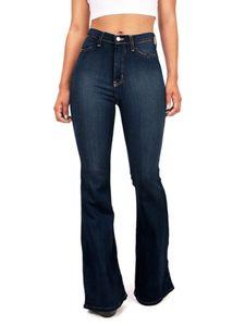 Sexydance Frauen Jeans Hohe Taille Baggy Hose Mit Weitem Bein Hose Lässige Schlaghose,Farbe:Dunkelblau,Größe:XL