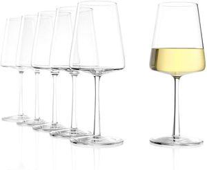 Stölzle Lausitz Power Weißweinkelch 402 ml 6er Set Weißweingläser spülmaschinenfest bleifreies Kristallglas hochwertige Qualität elegant und bruchbeständig 1590002