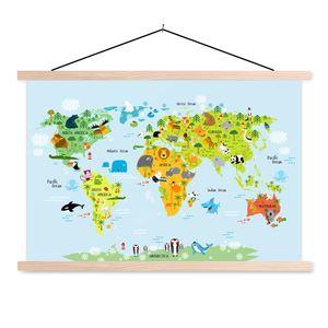 Weltkarte Schulwandkarte - 90x60 cm - Weltkarte für Kinder Tiere Kinderzimmer - Platte Leisten - Modernes Wandbilder