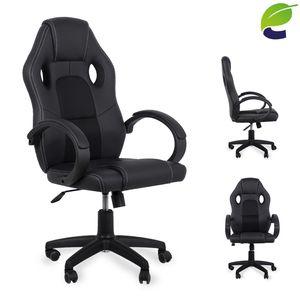 Racing Bürostuhl ecoMI Schreibtischstuhl Gaming Stuhl  - ergonomisch, höhenverstellbar & gepolstert, bis 150 kg Computer PC Gamingstuhl Drehstuhl - Schwarz