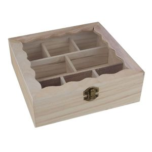 Teebeutelbox Holz natur 8 Fächer 20x20x6,7cm Sichtdeckel dekorative Teekistchen