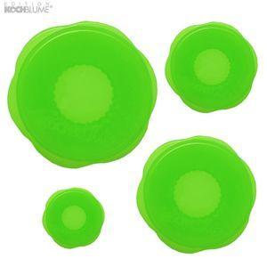 Kochblume Stretchi Überzieher 4er-Set Silikon grün