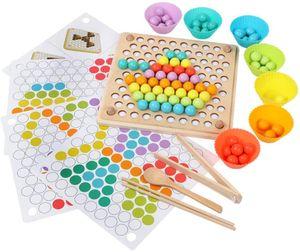 Clip Beads Brettspiel, Montessori Pädagogisches Holzspielzeug - Clip Beads Spiel Puzzle Board - Holz Clip Beads Regenbogenspielzeug - Matching Game Memory Toy - Puzzle Brettspiel