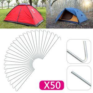50x Pack Stahl-Zelthaken Zeltheringe Erdnägel verzinkt Camping Zeltnagel 20cm Bodenanker für Zeltbefestigung Widerhaken