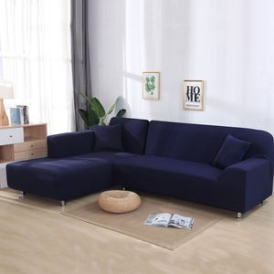 Sofa Überwürfe 2 teilig 2 Sitzer + 2 Sitzer, Elastisch Stretch Sofabezug L Form 2er Set mit 2 Stück Kissenbezug Sofabezüge Sofa Überzug Couch Bezug Sofaüberwurf L Form Sofa Abdeckung (Blau,L Form 2 Sitzer + 2 Sitzer)