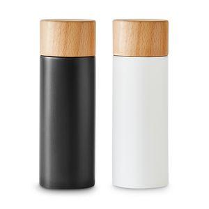 Kitchen Crew Salz- und Pfeffermühlen-Set 2 tlg. Gewürzmühle aus Birkenholz im Scandi-Design | Verstellbares Keramikmahlwerk, Grinder, Unbefüllt & Nachfüllbar | Schwarz/Weiß