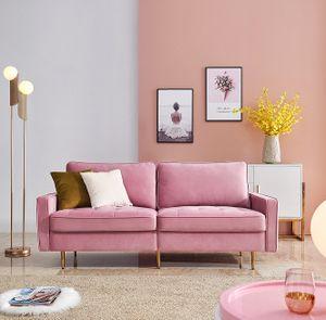 Modern Samt Stoff Sofa 180cm - Rosa, Modern Velvet fabric sofa mit 2 dekorative Kissen