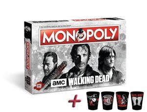 Monopoly The Walking Dead AMC mit Zusatzartikel, Setartikel:+ 4er Set Premium Schnapsgläser