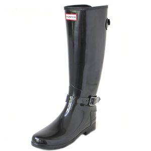 Hunter W Original Refined Tall Adj Ankle Strap Gloss black, Größe:42