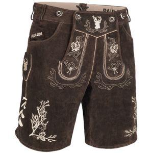 PAULGOS Herren Trachten Lederhose kurz - HK3 - Echtes Leder - in 2 Farben erhältlich - Größe 44 - 60, Farbe:Dunkelbraun, Größe:48