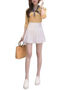Damen High-Taille A-Linie Reißverschluss Taille Faltenrock lässig All-Match-Rock,Farbe: Weiß,Größe:M