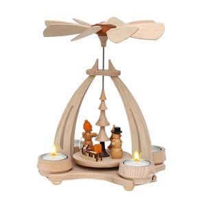 72-0014 Holz Teelicht-Tischpyramide Schneemann und Weihnachtsmann SIGRO