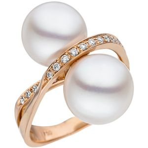 JOBO Damen Ring 58mm 750 Rotgold 24 Diamanten Brillanten 2 Südee Perlen weiß Perlenring