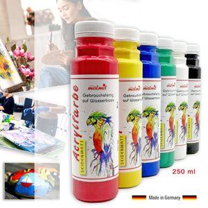 Acrylfarben 6er Set je 250 ml Künstler Malfarben hochdeckend Seidenmatt Pouring