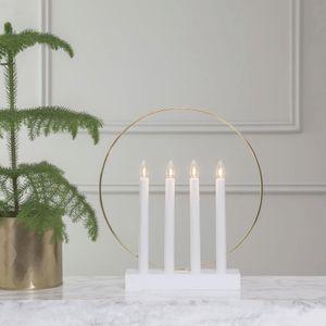 Fensterleuchter 'Glossy Kreis' - 4flammig - warmweiße Glühlampen - H: 35cm - Schalter - Weiß/Gold
