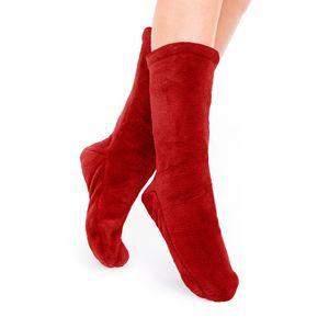Socken Kuschelsocken Flauschsocken One Size Wintersocken Einheitsgröße Rot