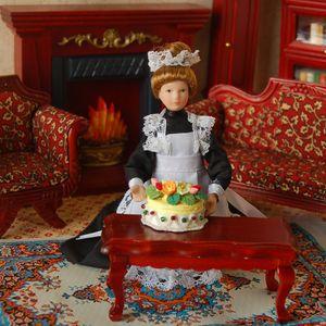 2 Stück Puppenhaus Miniatur Porzellan Diener Puppe + Mädchenpupp, Dekoration für 1:12 Puppenhaus