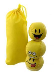 "3 Stressbälle, Jonglierbälle ""Happy"" mit Smiley-Gesichtern im Transport-Säckchen"