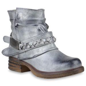 Mytrendshoe Damen Stiefeletten Leicht Gefüttert Biker Boots Schnallen Metallic 818843, Farbe: Silber, Größe: 39