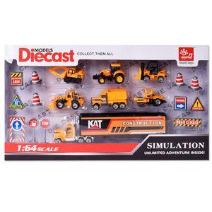 TE-Trend Baustelle Baustellenfahrzeuge LKW Bagger Kinder Spielzeug Fahrzeuge Auto Set 19 Teile Zubehör Schilder Pylonen Orange Mehrfarbig