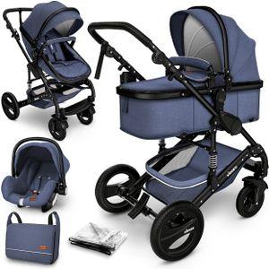 KIDUKU® 3 in 1 Kombi-Kinderwagen Blau/Schwarz Buggy Reisebuggy inkl. Auto- Babyschale Faltbar