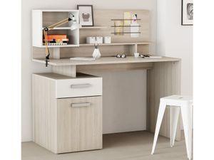 """Schreibtisch mit Aufsatz Computertisch Bürotisch Arbeitstisch """"Madalino I"""" Shannon Eiche / Perle Weiß"""