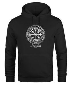 Hoodie Herren Wikinger Symbol Runen Wegweiser Kapuzen-Pullover Männer Neverless® schwarz 3XL