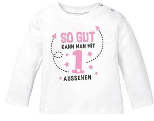 Baby Langarmshirt erster Geburtstag Spruch so gut kann man mit 1 bzw 2 aussehen Babyshirt Shirt MoonWorks® 1 weiß-rosa 80/86 (10-15 Monate)