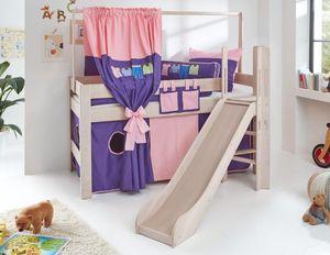 Hochbett LEO Kinderbett mit Rutsche Spielbett Bett Weiß Stoffset Rosa/Violett