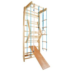 Sprossenwand Kletterwand Turnwand Klettergerüst Turngeräte Holz Kinder indoor, Farbe:Blau