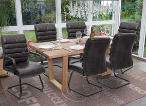6x Konferenzstuhl MCW-H31, Esszimmerstuhl Freischwinger Küchenstuhl, Vintage Wildleder-Optik Metall  Kunstleder schwarz