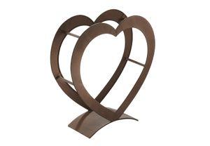 Kaminholzregal HEART aus Metall in der Farbe antikbraun