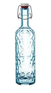 3x Bormioli Rocco Bügelflaschen 1 Liter blau 33 cm hoch inkl. Gummidichtung   Metallbügelverschluss