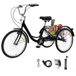 Zehnhase Dreirad Erwachsene 24 Zoll 1 Gang sicheres Fahrrad  Cityräder schwarz inkl. Zubehör