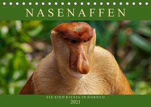 Calvendo Wandkalender Nasenaffen von Borneo (Tischkalender 2021 DIN A5 quer) 2021 DIN A5