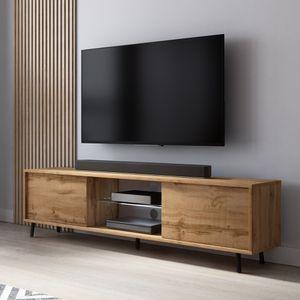 Selsey Lefyr – TV-Lowboard in Holzoptik Wotan Eiche mit LED-Beleuchtung, 140 cm