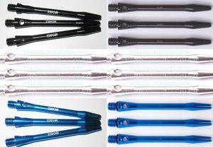 18 Alu-Schäfte blau/silber/schwarz medium 48mm 6 Schäfte je Farbe