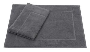 Betz 2er Set Badvorleger Premium Badematte Badteppich Duschvorleger  Größe 50x70 cm 100% Baumwolle,  Farbe anthrazit