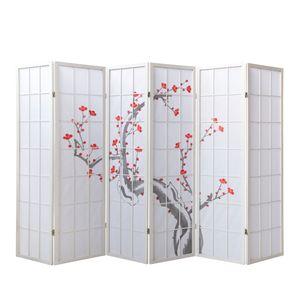 Homestyle4u 340, Paravent Raumteiler 6 teilig, Holz  Reispapier Weiß, Kirschblüte