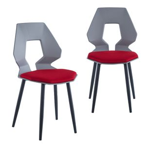 2er 4er Set Design Stühle Esszimmerstühle Küchenstühle Wohnzimmerstuhl Bürostuhl Kunststoff , Farbe:Grau / Bordeaux, Menge:2 St.