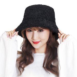 Fisherman Cap Hautfreundlicher verstellbarer Faux Lambswool Hut Mädchen Bucket Hat für Party