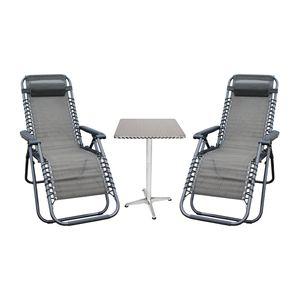 3er Relax Sessel + Alu Tisch Set Gartenmöbel Relaxstuhl Liegestuhl Klappstuhl